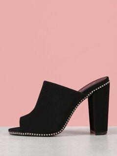 Studded Peep Toe Chunky Mule Heel