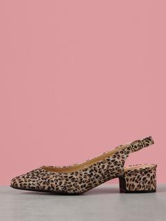Leopard Print Faux Suede Sling Back Pump