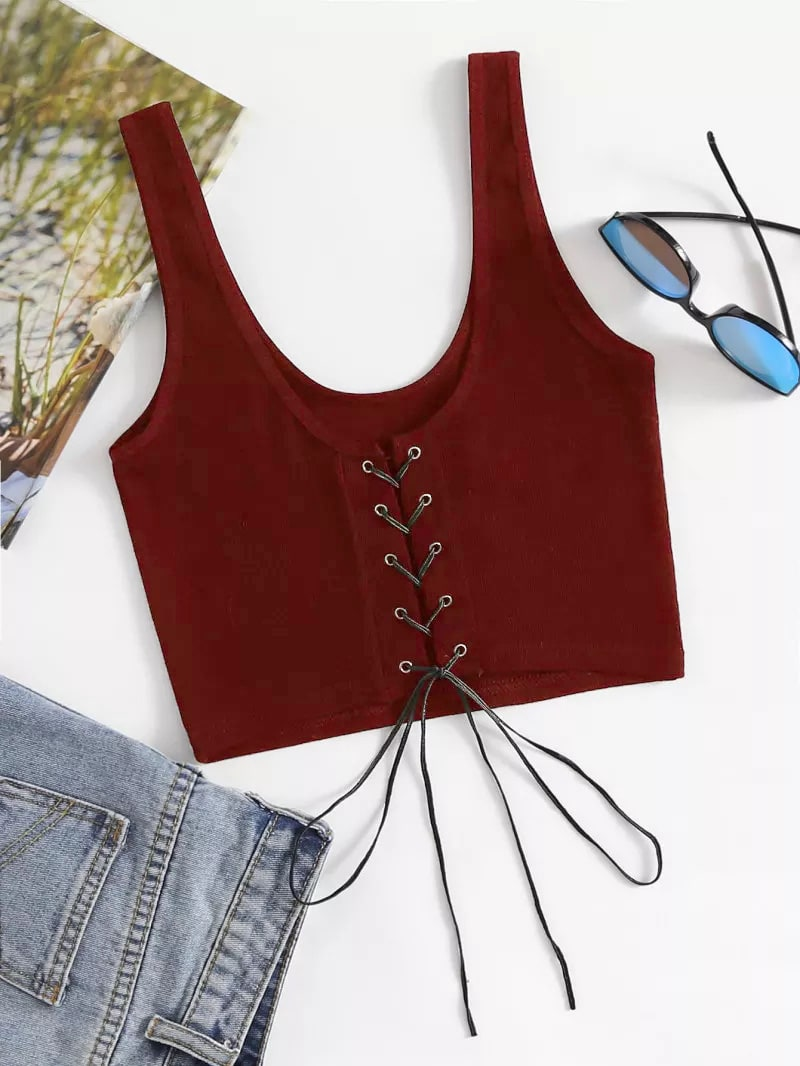 Eyelet Lace Up Front Ribbed Top