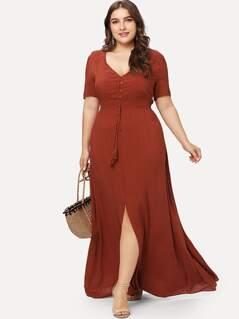 Shirred Waist Slit Hem Fit and Flare Dress