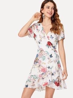 Flounce Trim Botanical Wrap Dress