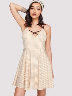 Crisscross Neck Gingham Cami Dress