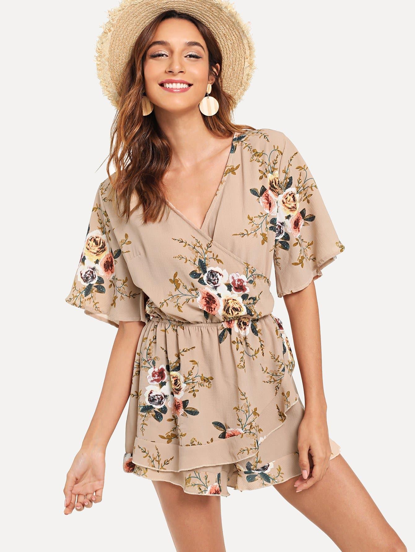 Купить Обрежьте шею с надписью Ruffle Hem Floral Romper, Gabi B, SheIn
