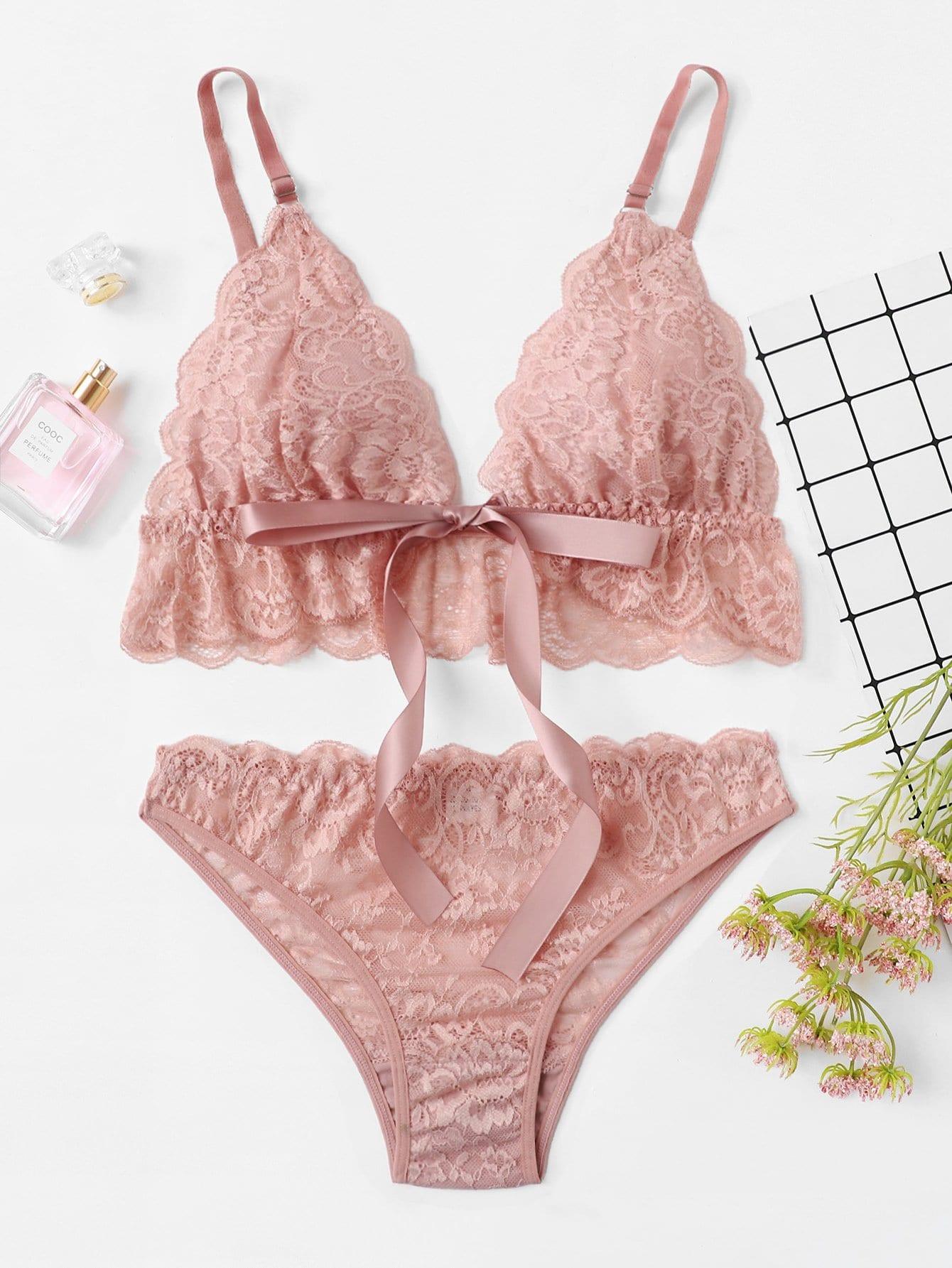 Scalloped Trim Lace Lingerie Set lace up detail scalloped trim lace lingerie set