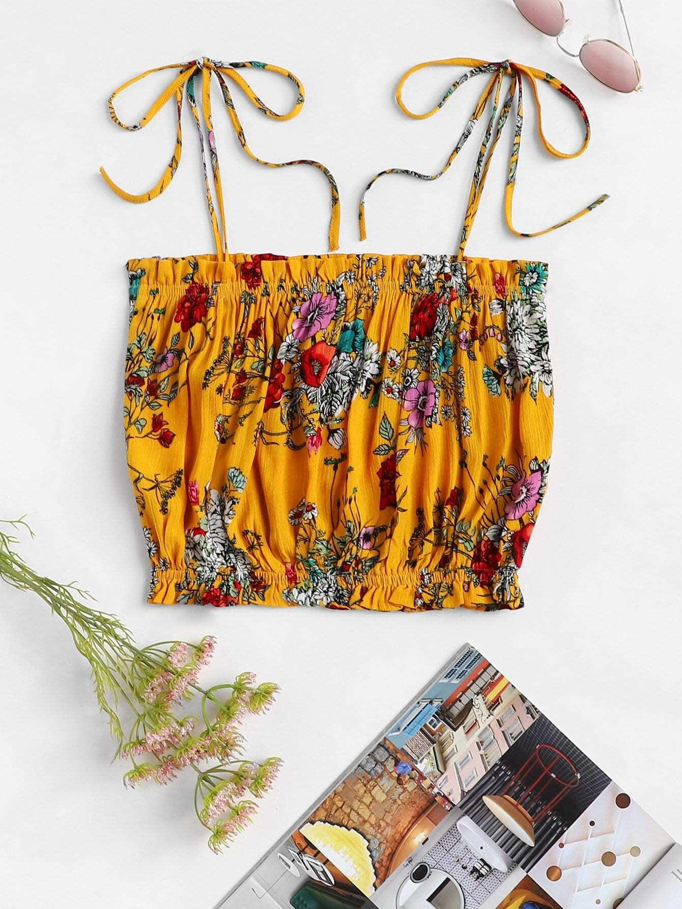 Купить Frilled Trim Botanical Print Knot Tied Cami Top, null, SheIn