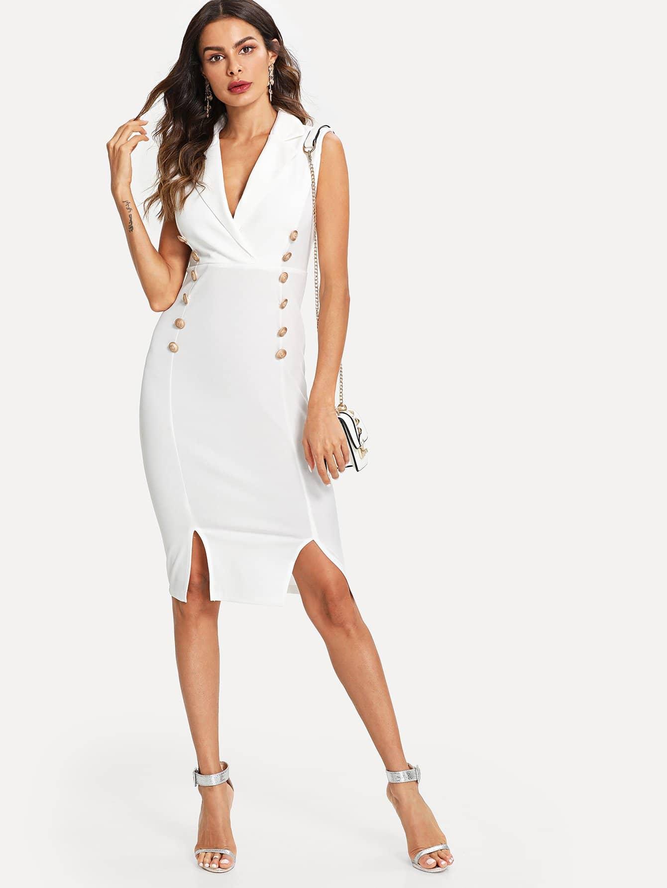 Купить Подробное описание кнопки M-Slit Fitted Dress, Andy, SheIn