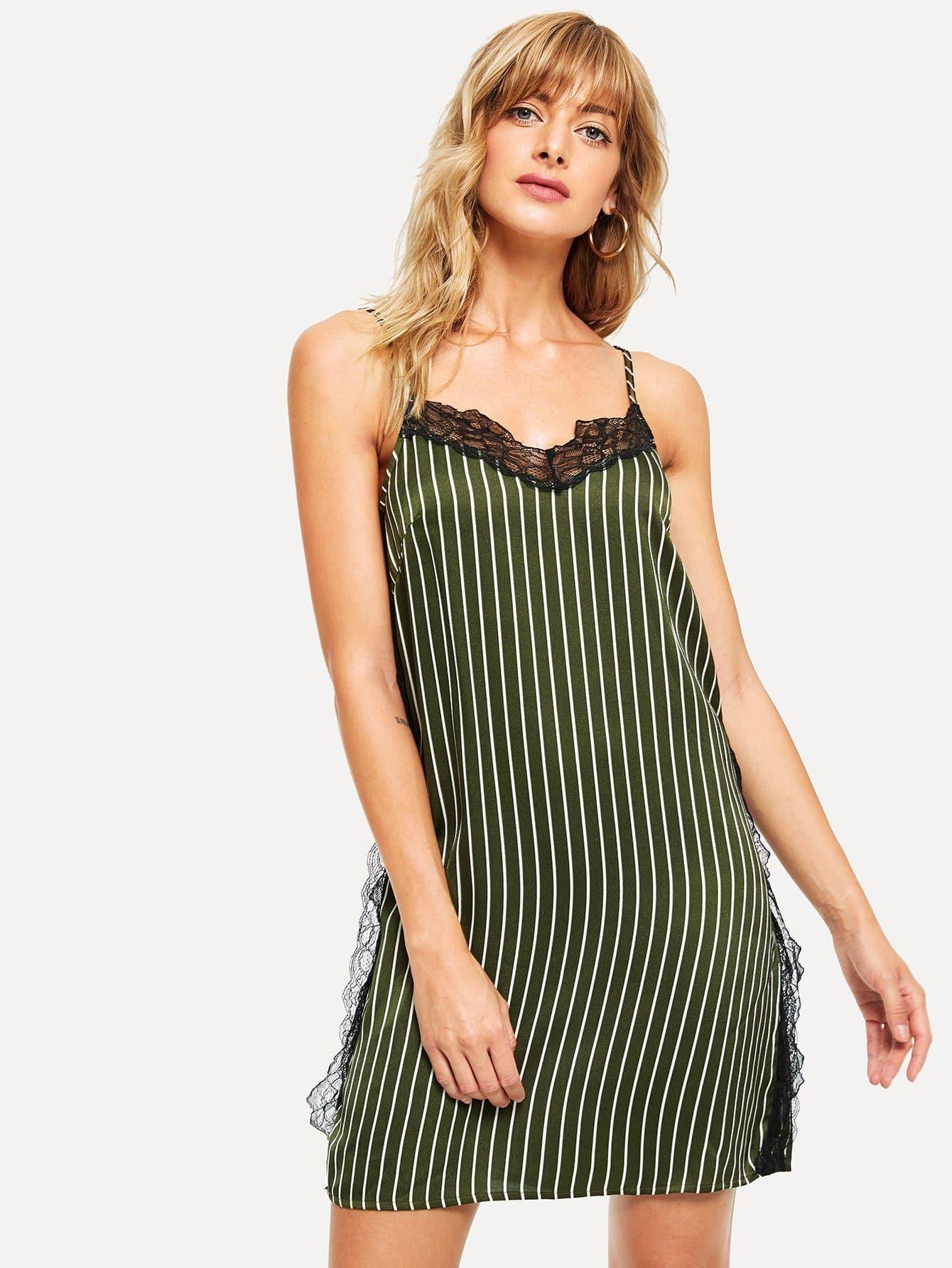 Купить Ночное платье с полосками и кружевами, Masha, SheIn