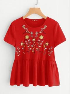 Flower Embroidered Ruffle Hem Tee