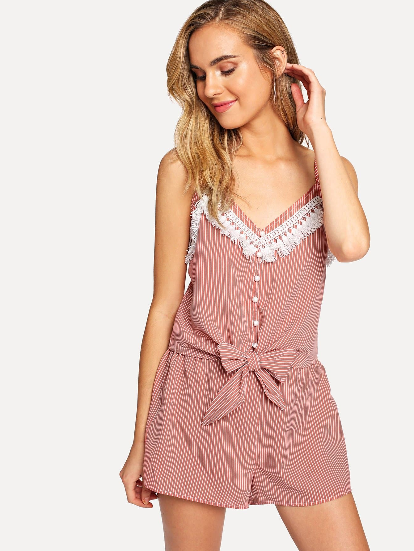 Tassel Trim Button Up Cami Top & Shorts Co-Ord trendy tassel trim pearl embellished cami top for women