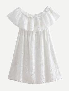 Eyelet Embroidered Ruffle Layered Dress