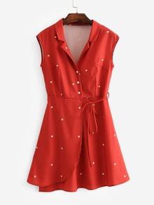 Tie Detail Wrap Shirt Dress