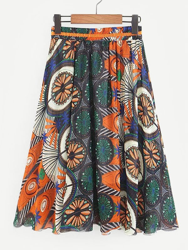 Mandala Print Skirt