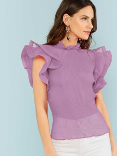 Exaggerate Tiered Ruffle Trim Pleated Panel Top
