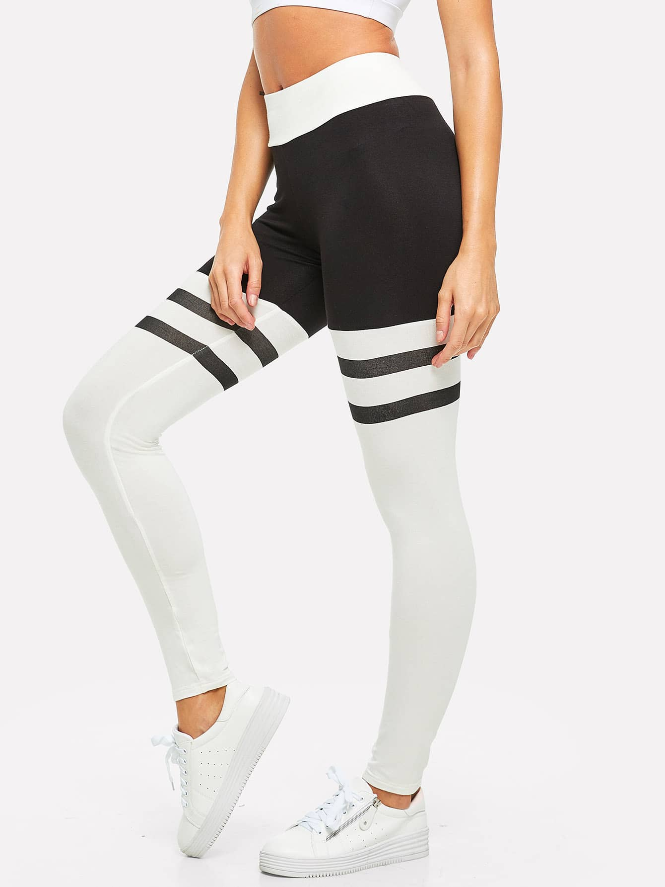 Two Tone Striped Leggings полотенце для ванной two tone grafik quelle quelle 239974