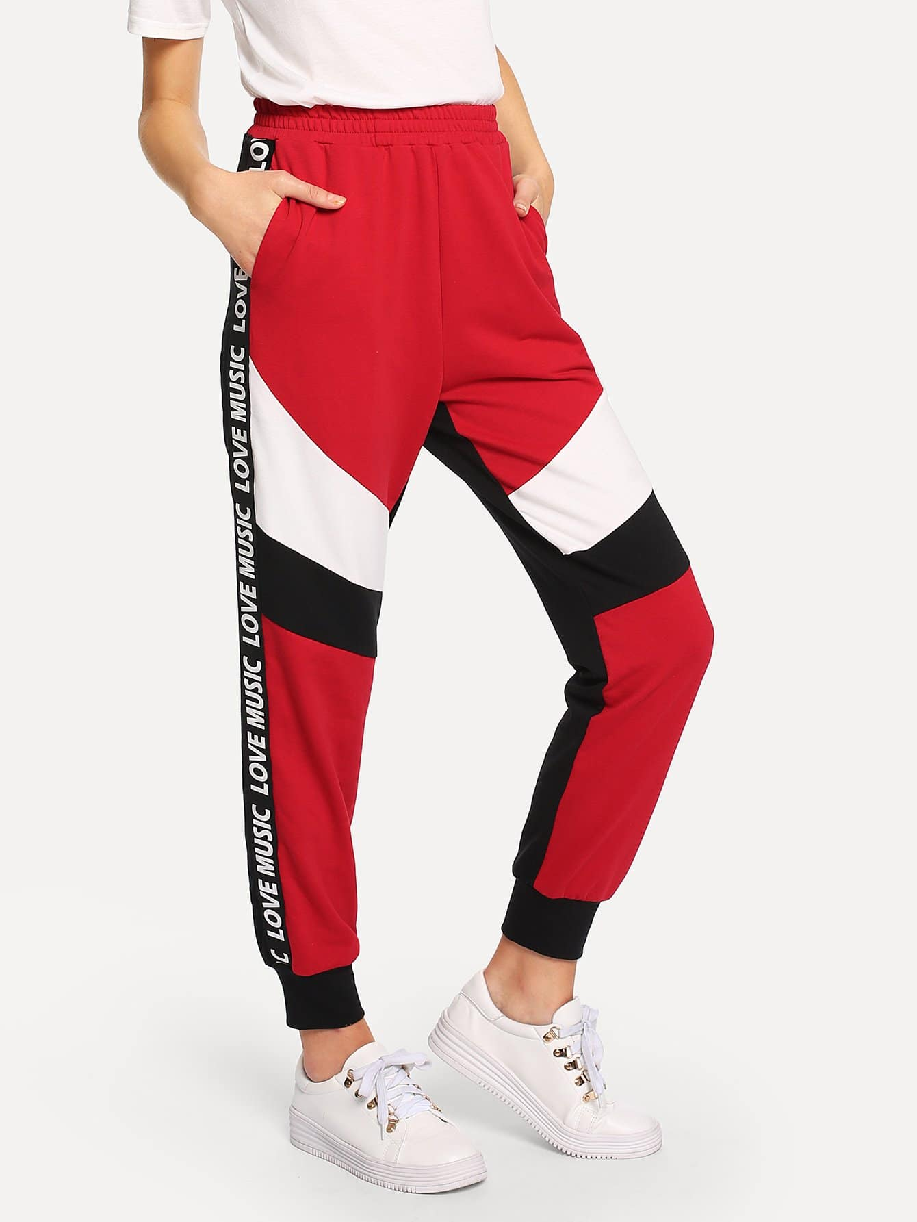 Lettering Tape Side Color Block Sweatpants lettering tape side skinny leggings