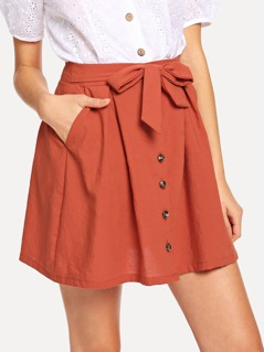 Tie Waist Button Up Skirt