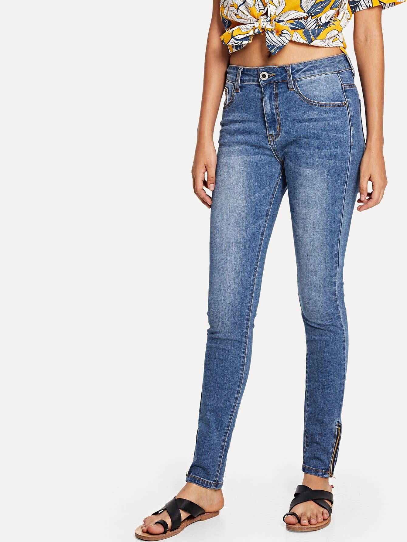 Zip Up Side Skinny Jeans
