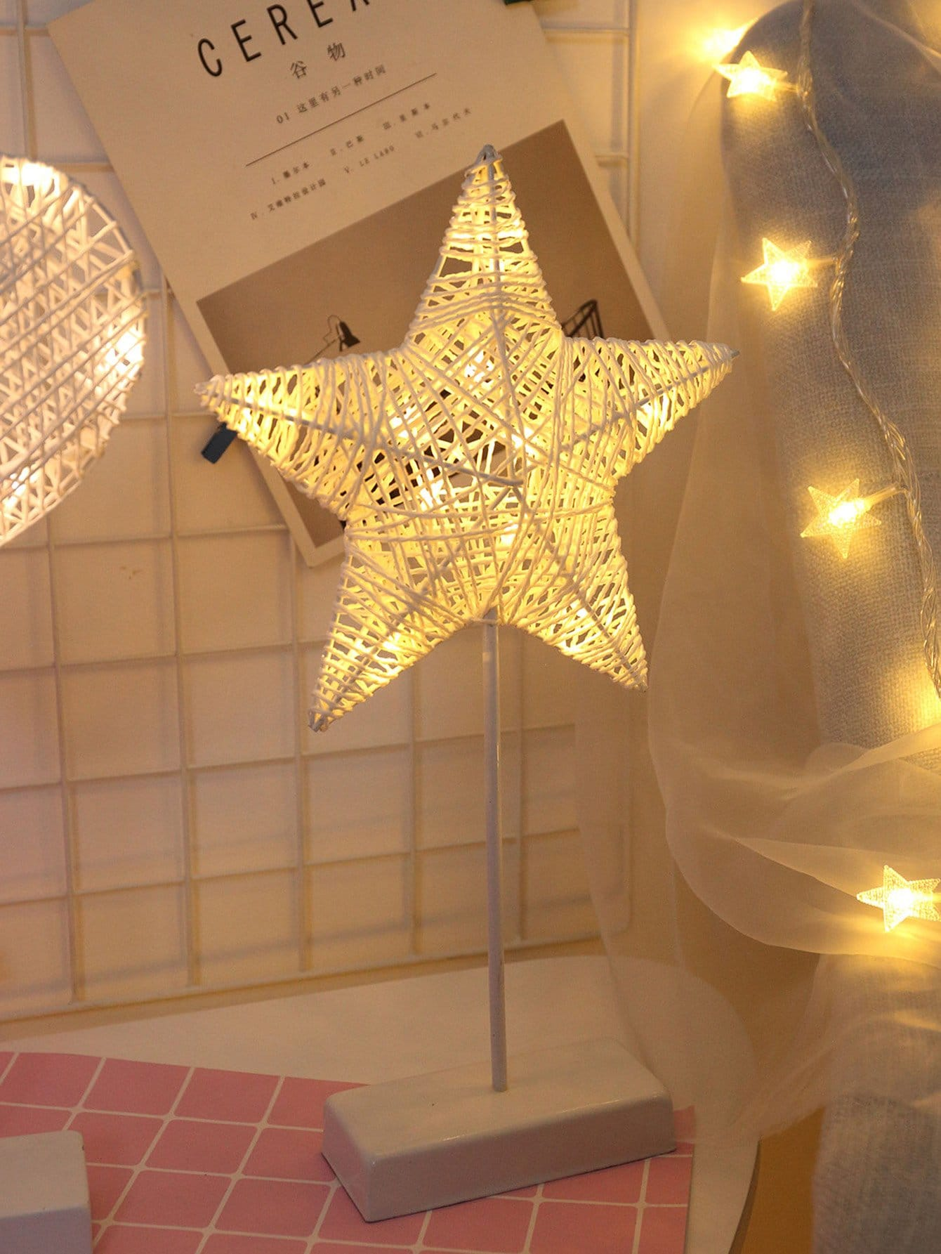 Купить Настольная лампа в форме звезды с 10 лампочк, null, SheIn