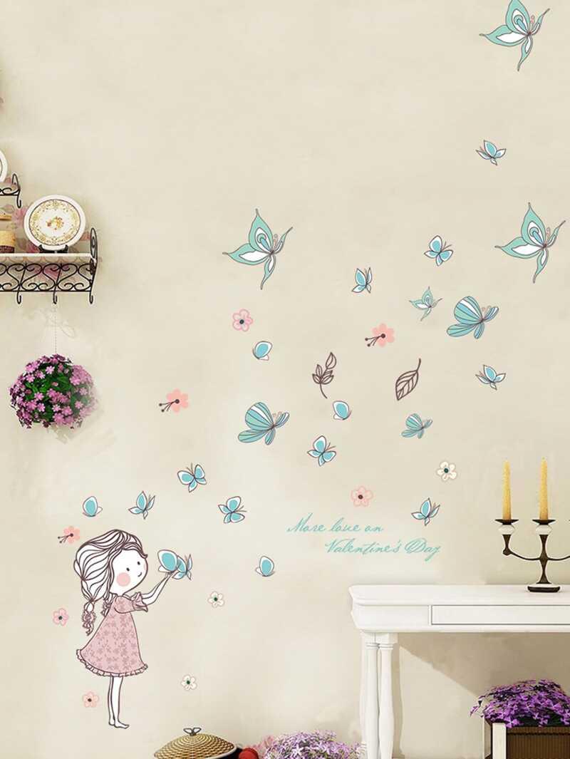 Girl & Butterfly Pattern Wall Sticker