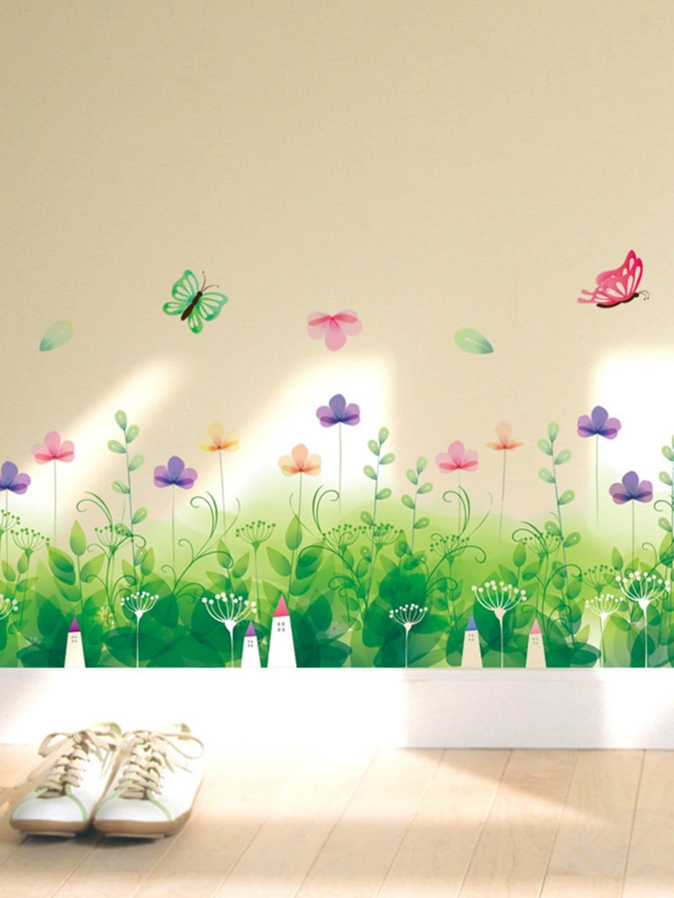 De L'Herbe Et Des Papillons Modèle Sticker Mural