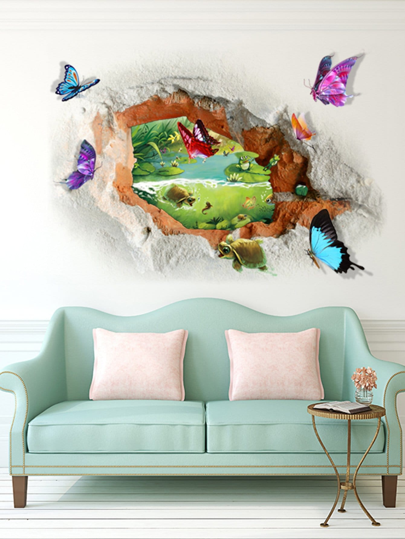 3D Broken Butterfly Wall Sticker vinyl removable 3d love broken wall sticker