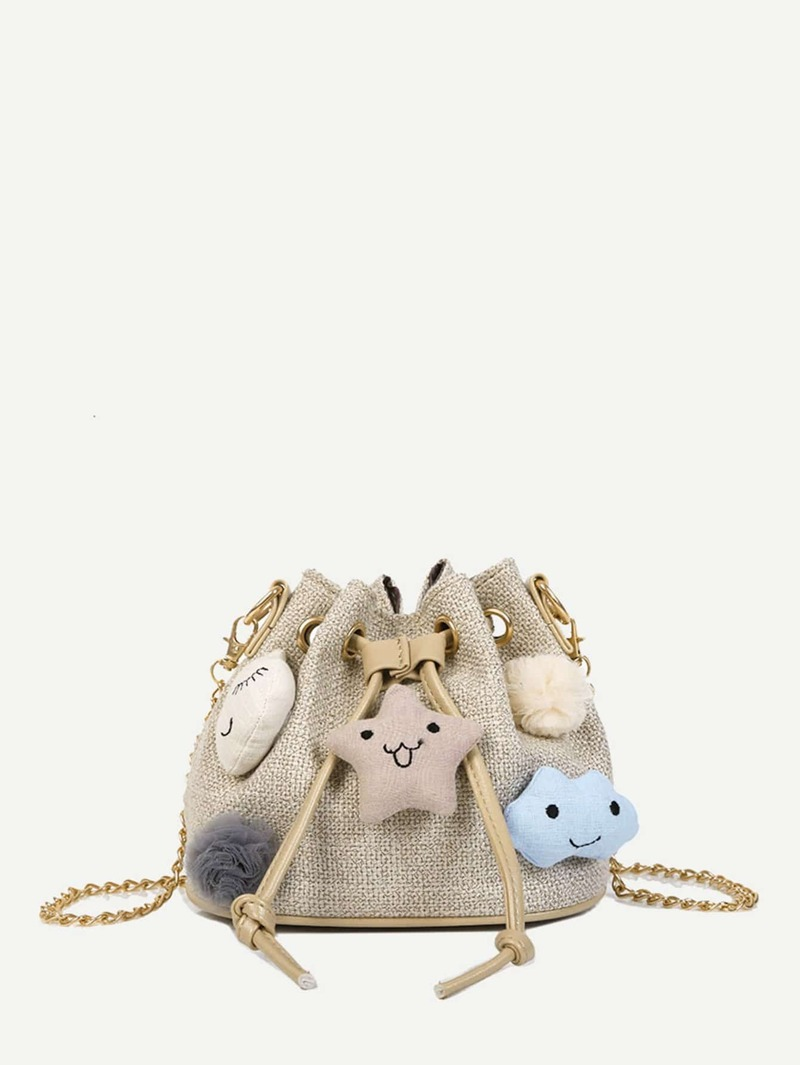 Pom Pom Decorated Drawstring Bucket Bag, Khaki