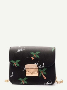 Coconut Tree Print Chain Bag