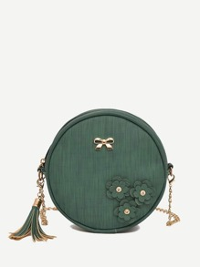 Applique Detail Tassel Round Chain Bag