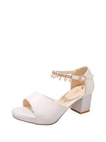 Faux Pearl Decor Block Heels