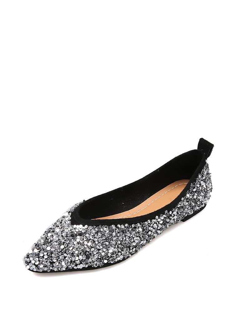 Glitter Pointed Toe Flats