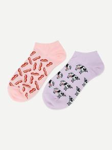 Animal Pattern Ankle Socks 2 Pairs