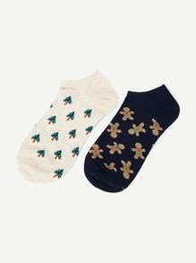 Cartoon Pattern Ankle Socks 2 Pairs