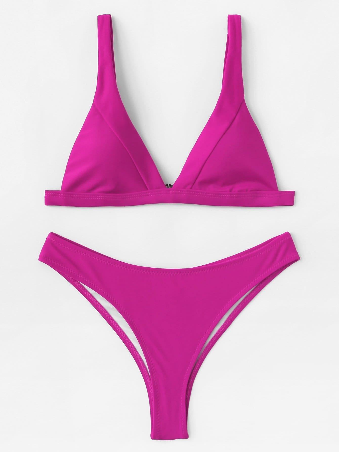 Plain Bikini Set flounce plain bikini set
