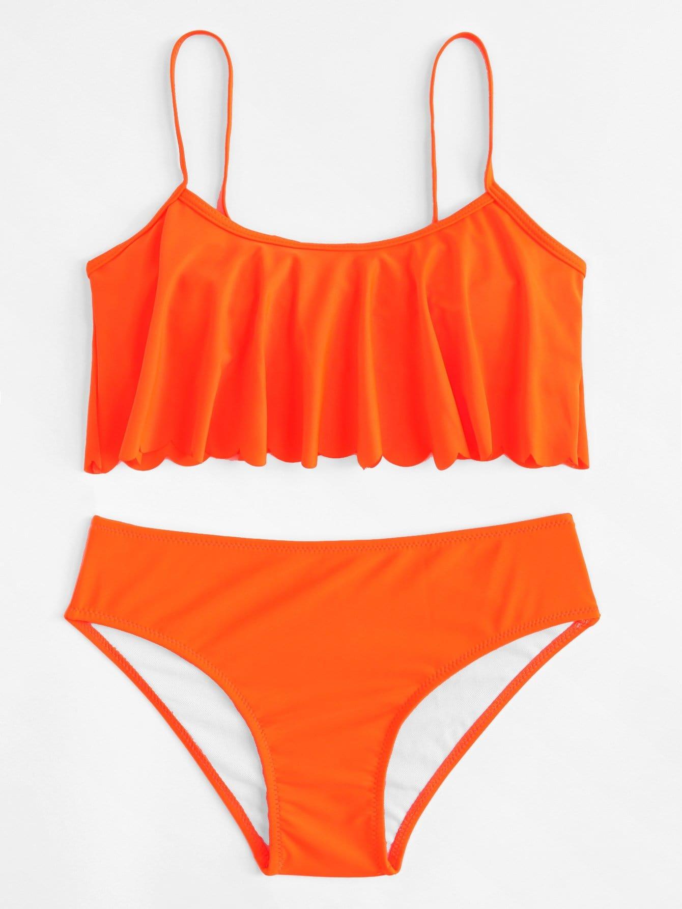 Flounce Plain Bikini Set