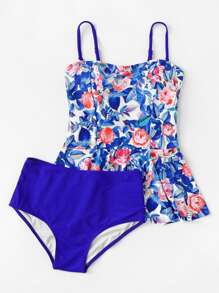 Flower Print Tankini Set