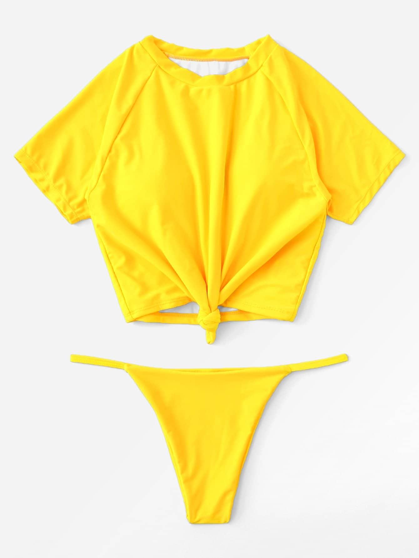 Knot Front Two Pice Swimwear knot front open back swimwear