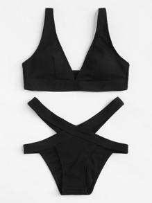 V-Plunge Plain Bikini Set
