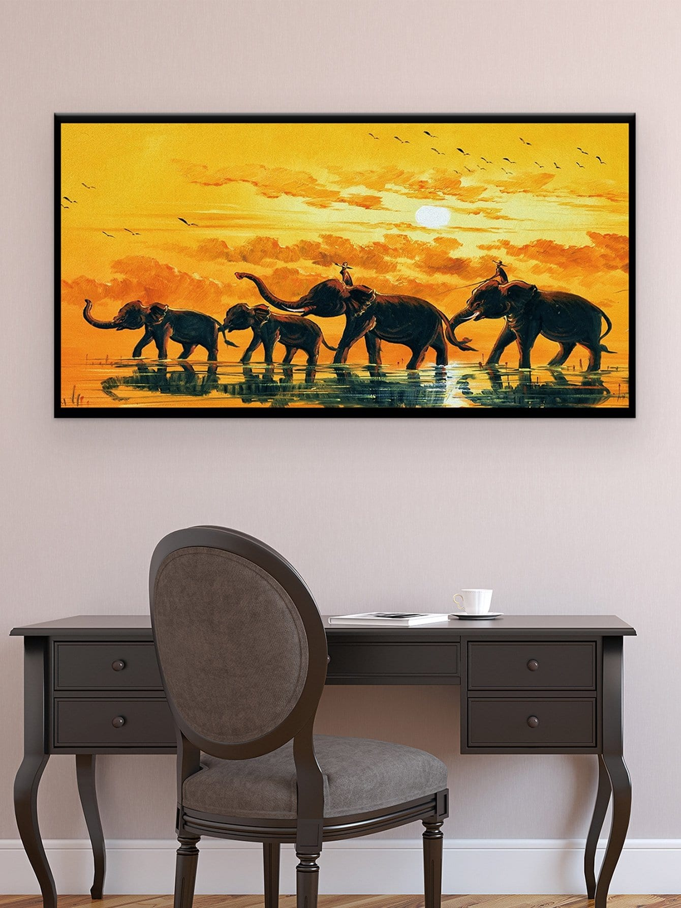 Elephant Painting Cloth Wall Art 1pc
