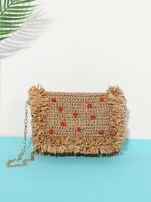 Rose Decor Raw Trim Straw Bag