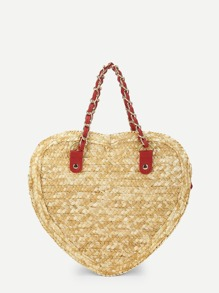 Heart Shaped Straw Bag