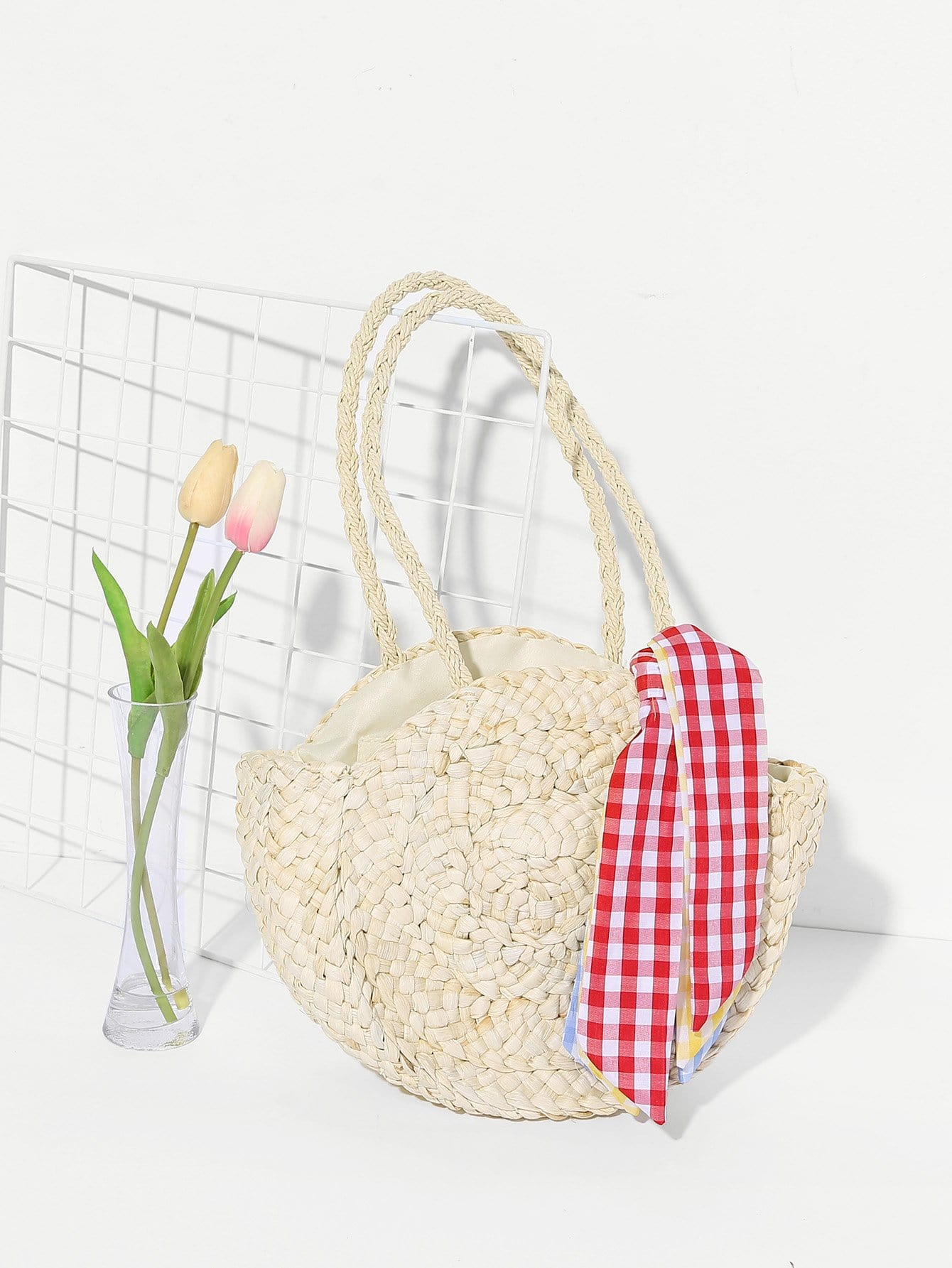 Girls Straw Handbag With Gingham Scarf