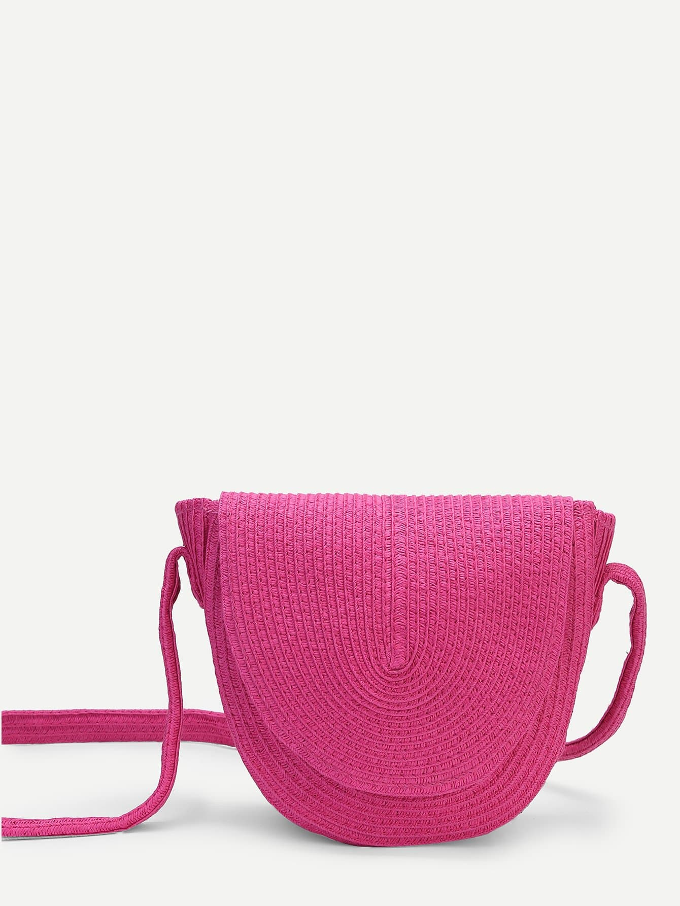 Curved Straw Flap Bag