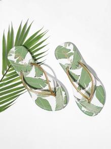 Tropical Print Flip Flops