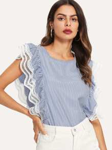 Ruffle Striped Contrast Lace Blouse