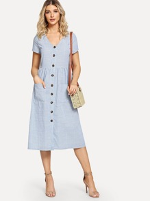 Striped Pocket Button Front Dress