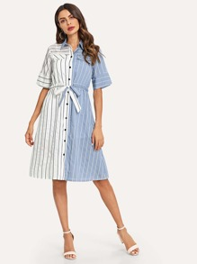 Patched Striped Drawstring Waist Dress With Strap
