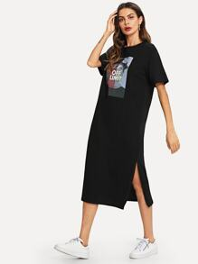 Girl Print Split Side Dress