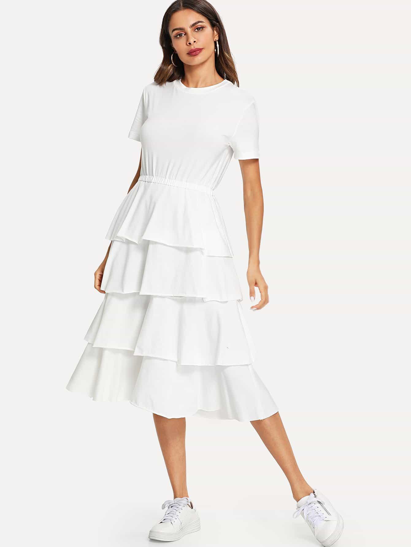 Layered Flounce Dress