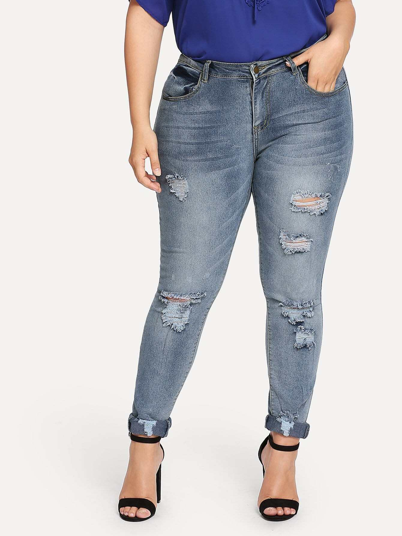 Plus Roll-Up Ripped Skinny Jeans