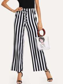 Striped Drawstring Waist Wide Leg Pants
